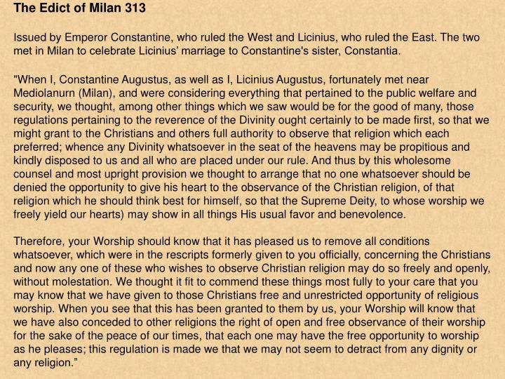 The Edict of Milan 313