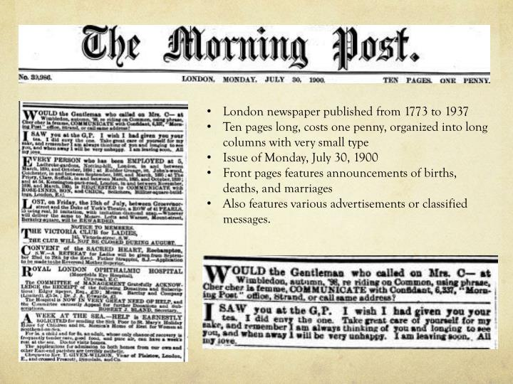 London newspaper published from 1773 to 1937