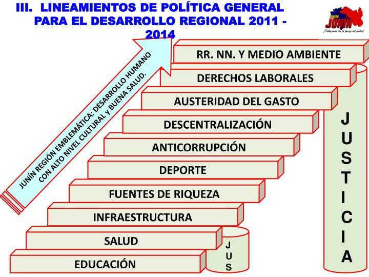 LINEAMIENTOS DE POLÍTICA GENERAL PARA EL DESARROLLO REGIONAL 2011 - 2014