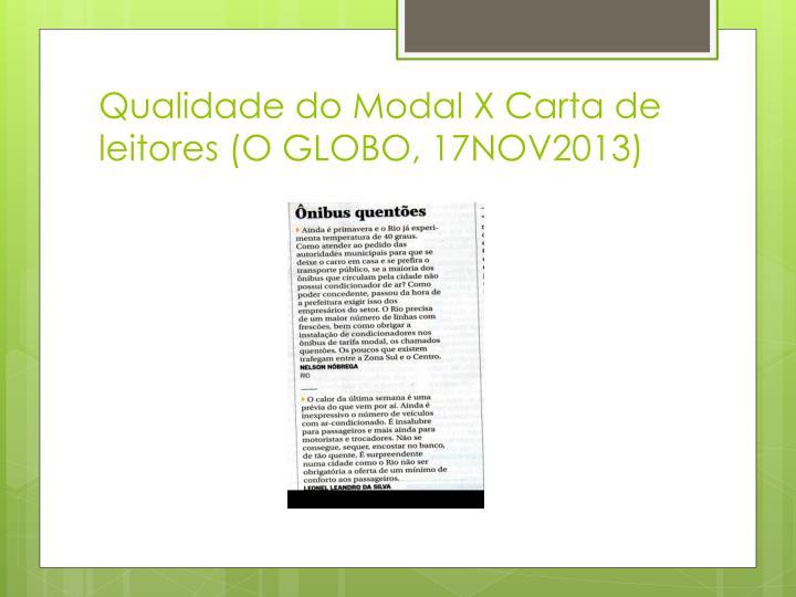 Qualidade do Modal X Carta de leitores (O GLOBO, 17NOV2013)