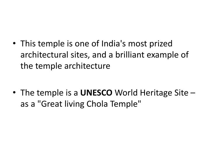 This temple is one of India's most prized architectural sites, and a brilliant example of the temple architecture
