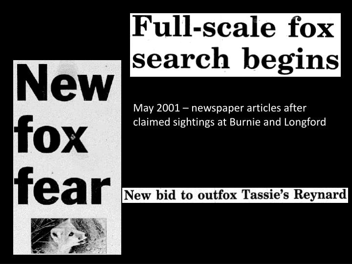May 2001 – newspaper articles after claimed sightings at Burnie and Longford