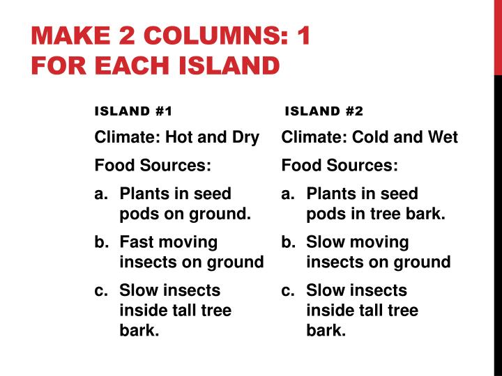 Make 2 Columns: 1 for each Island