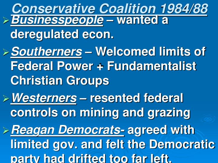 Conservative Coalition 1984/88