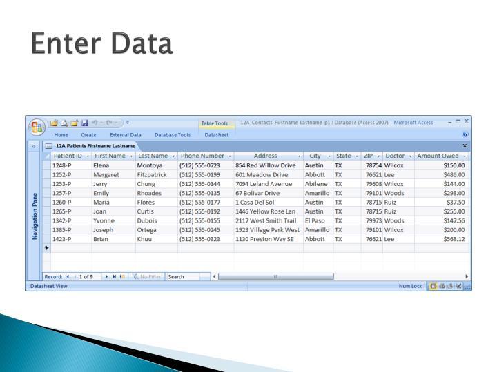 Enter Data