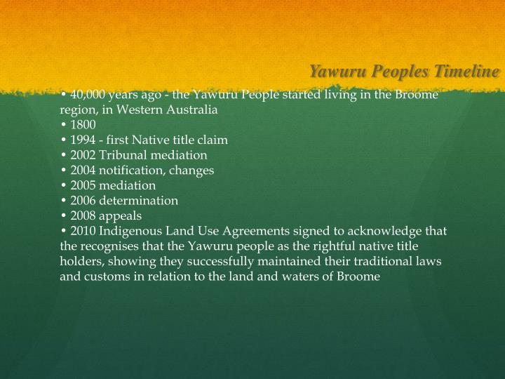 Yawuru Peoples Timeline