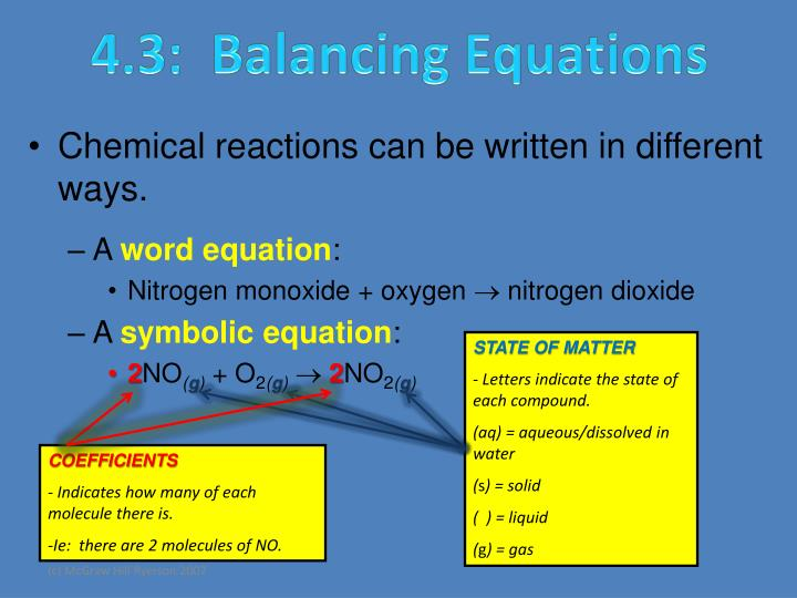 4.3:  Balancing Equations