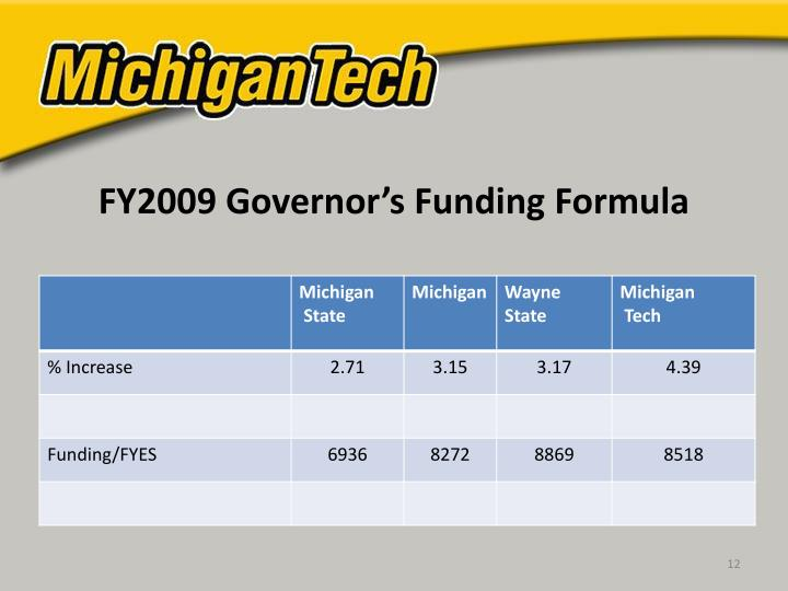 FY2009 Governor's Funding Formula