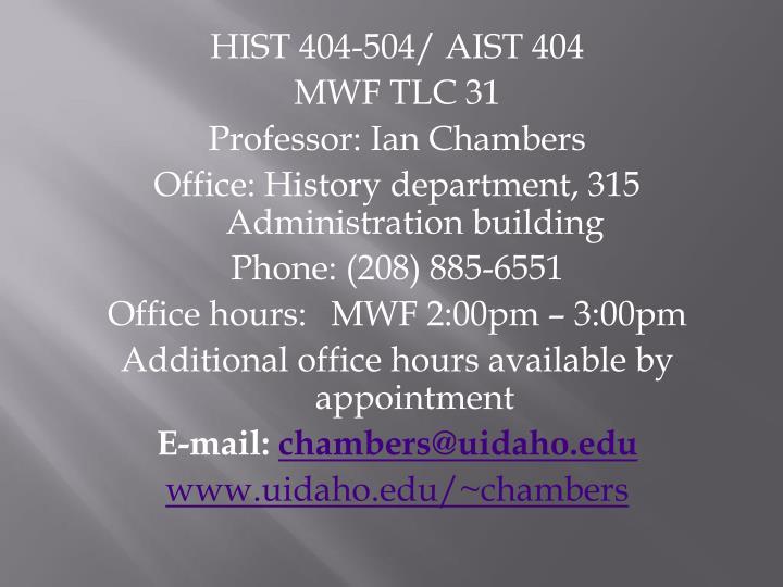 HIST 404-504/ AIST 404