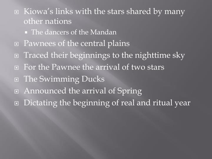 Kiowa's links with the stars shared by many other nations