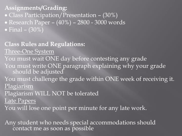 Assignments/Grading: