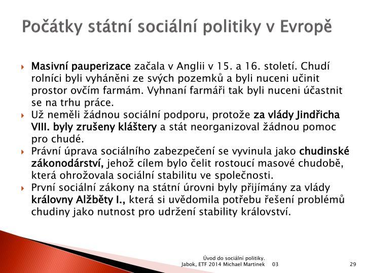 Počátky státní sociální politiky v Evropě