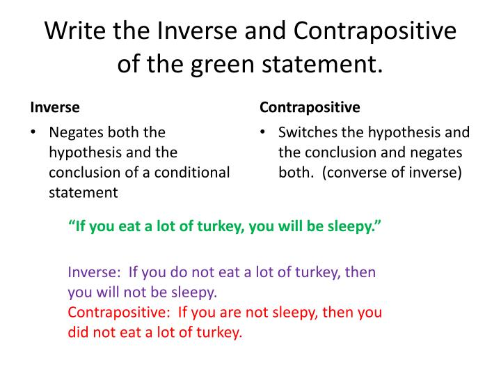 Write the inverse and contrapositive of the green statement