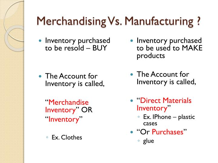 Merchandising Vs. Manufacturing ?