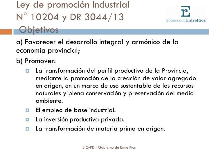 Ley de promoción Industrial
