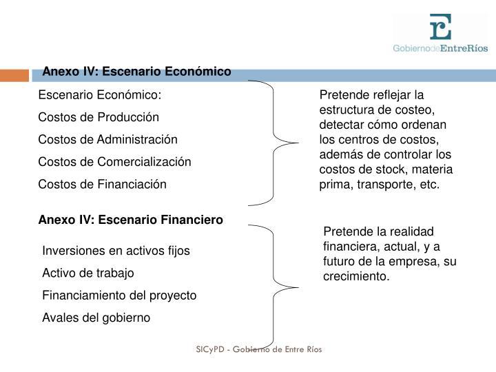Anexo IV: Escenario Económico