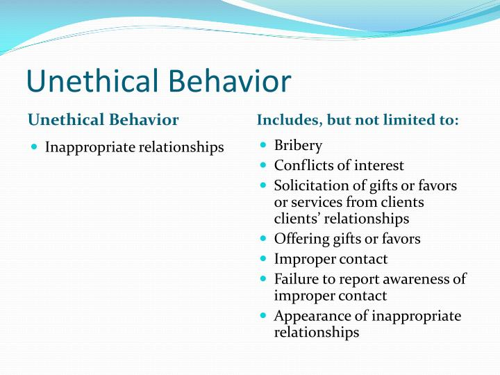 unethical rationalization Pinching a little piece of the pie, bending a rule once in a while, occasionally telling a white lie or just looking the other way for a moment, are common place in business it is not the unethical act itself, but it is the rationalization of the unethical behavior that is the focus of this paper.