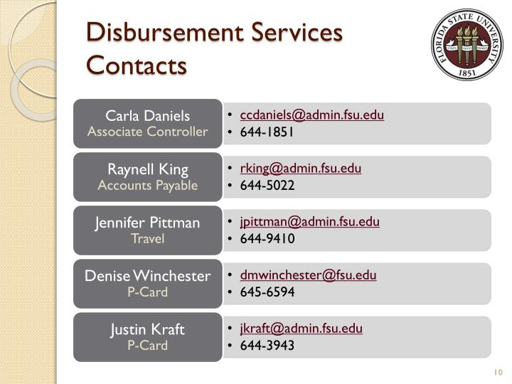 Disbursement Services Contacts
