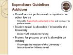 expenditure guidelines additions
