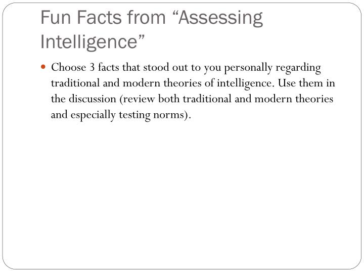 "Fun Facts from ""Assessing Intelligence"""