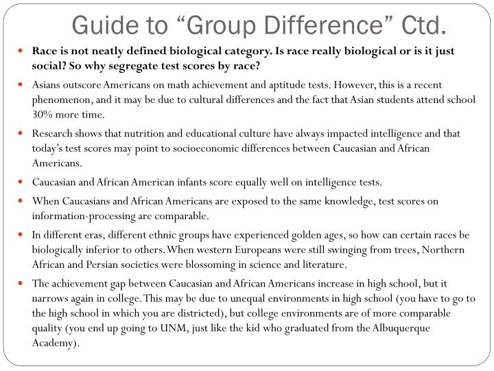 "Guide to ""Group Difference"""