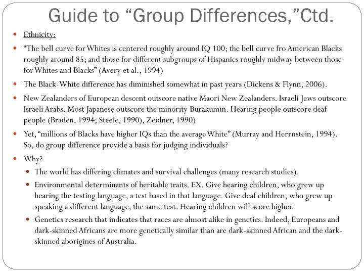 "Guide to ""Group Differences,"""