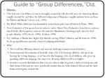 guide to group differences ctd