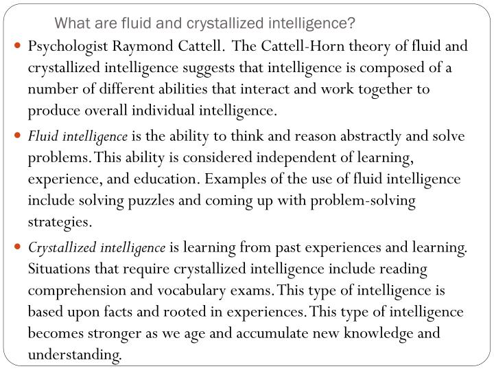 What are fluid and crystallized intelligence?