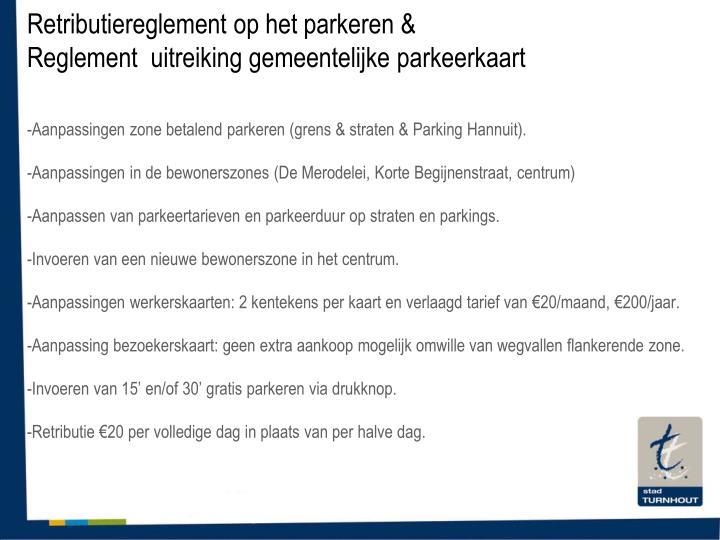 Retributiereglement op het parkeren &