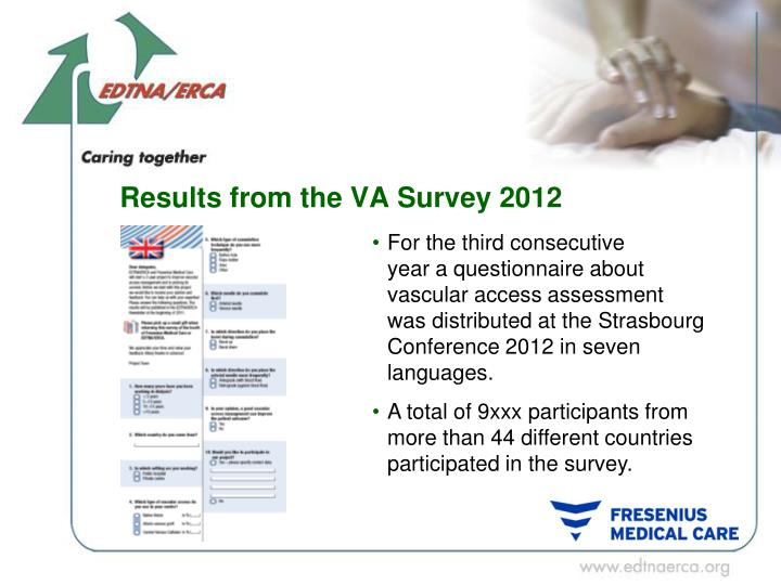 Results from the VA Survey 2012