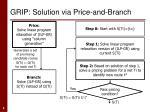 grip solution via price and branch