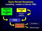 early rectal neoplasia unwilling unable to tolerate tme