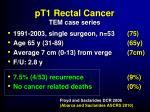 pt1 rectal cancer tem case series