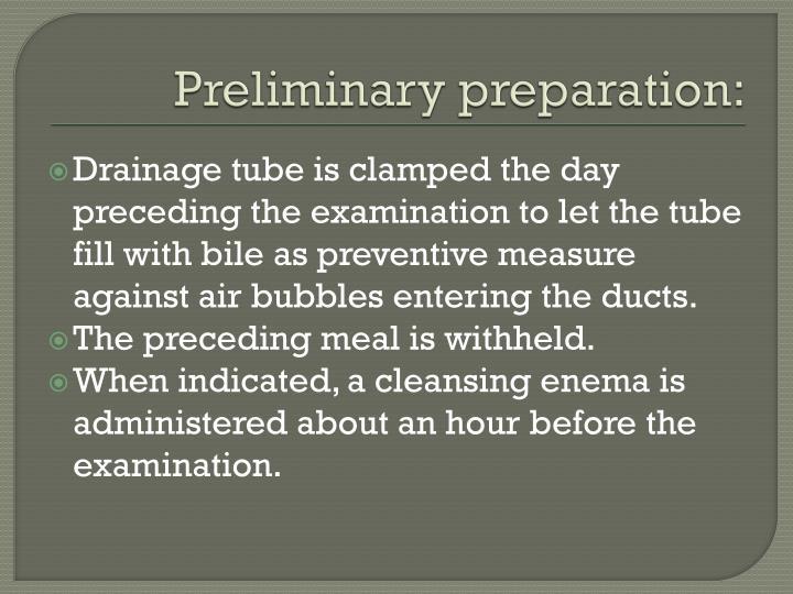 Preliminary preparation: