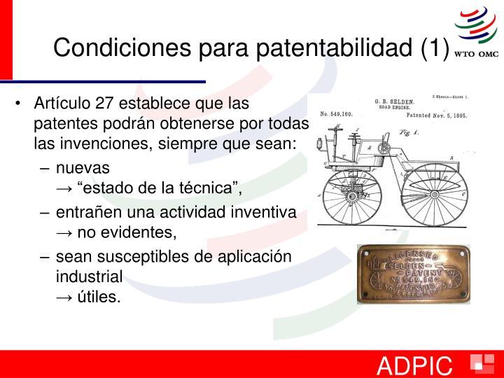 Condiciones para patentabilidad (1)