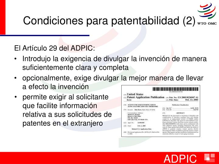Condiciones para patentabilidad (2)
