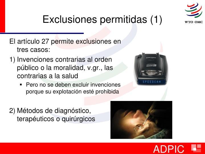 Exclusiones permitidas (1)