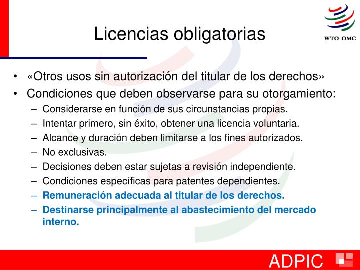 Licencias obligatorias