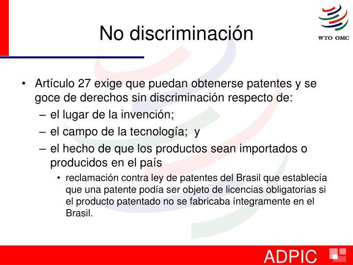 No discriminación