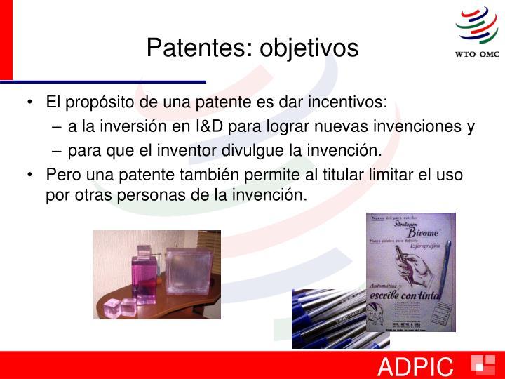 Patentes: objetivos