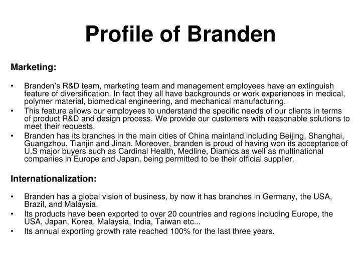 Profile of Branden