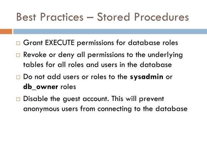 Best Practices – Stored Procedures