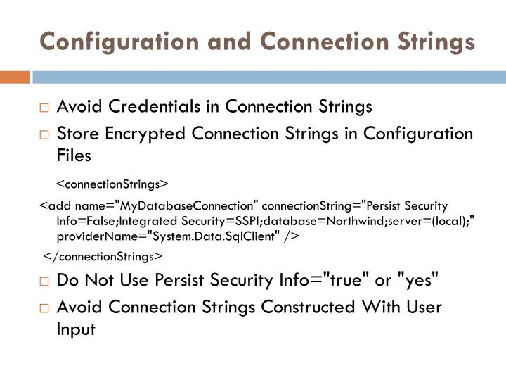 Configuration and Connection Strings