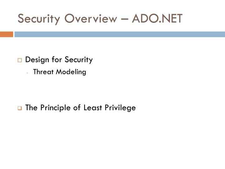 Security Overview – ADO.NET