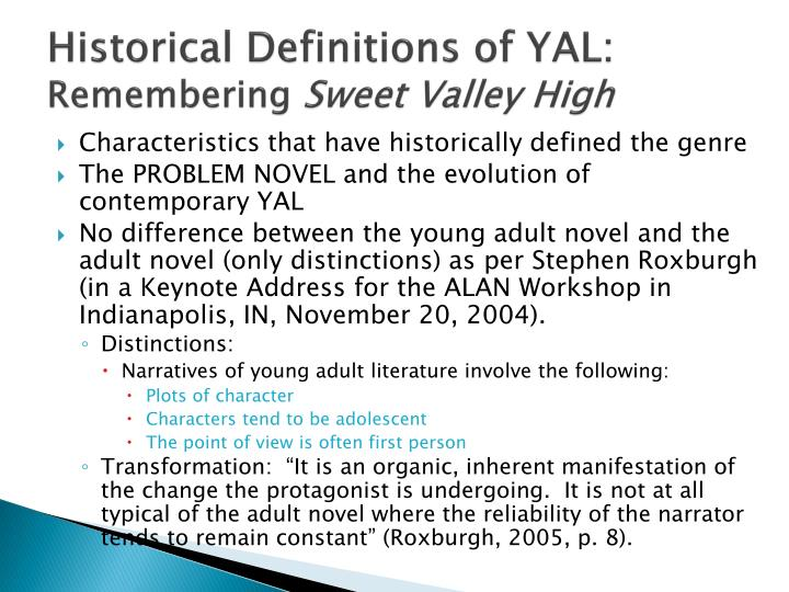 Historical definitions of yal remembering sweet valley high