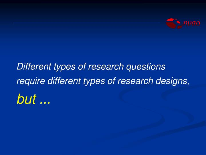 Different types of research questions require different types of research designs,