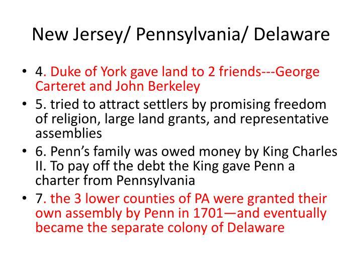 New Jersey/ Pennsylvania/ Delaware