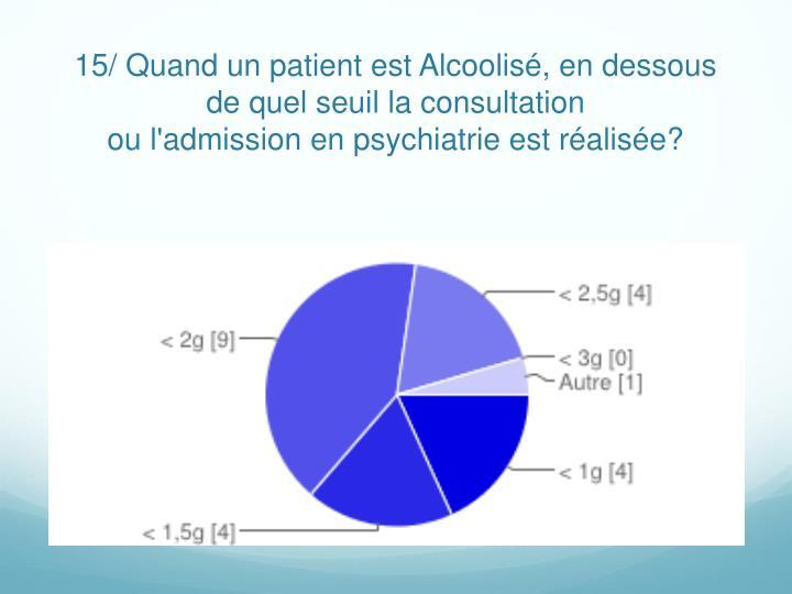 15/ Quand un patient est Alcoolisé, en dessous de quel seuil la consultation