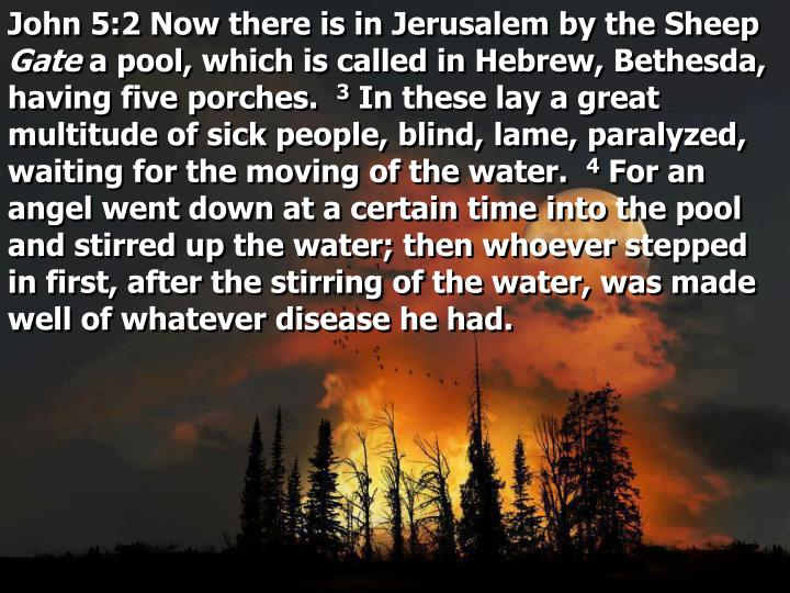 John 5:2 Now there is in Jerusalem by the Sheep