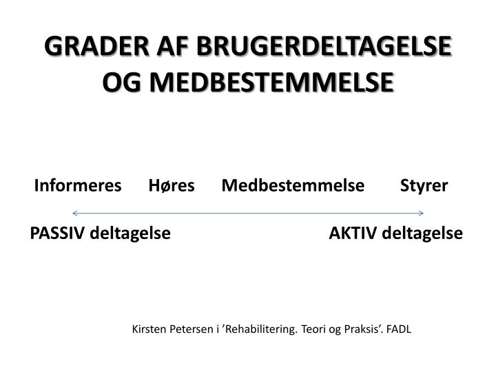 GRADER AF BRUGERDELTAGELSE